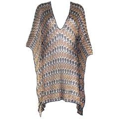 Missoni Multicolor Gold Metallics Lurex Crochet Knit Kaftan Tunic Top Mini Dress