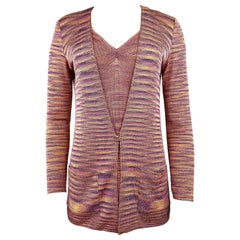 Missoni Multicolor Knit Sleeveless Top and Cardigan Set Size 40