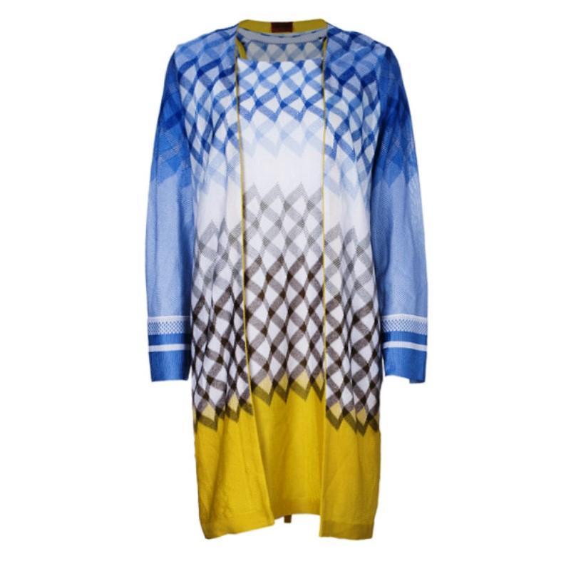 2099e59da495 Missoni Multicolor Chevron Pattern Lurex Knit Open Front Cardigan S For  Sale at 1stdibs