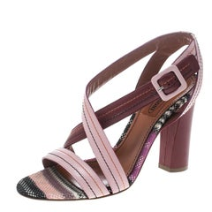 Missoni Multicolor Leather Block Heel Cross Strap Sandals Size 37
