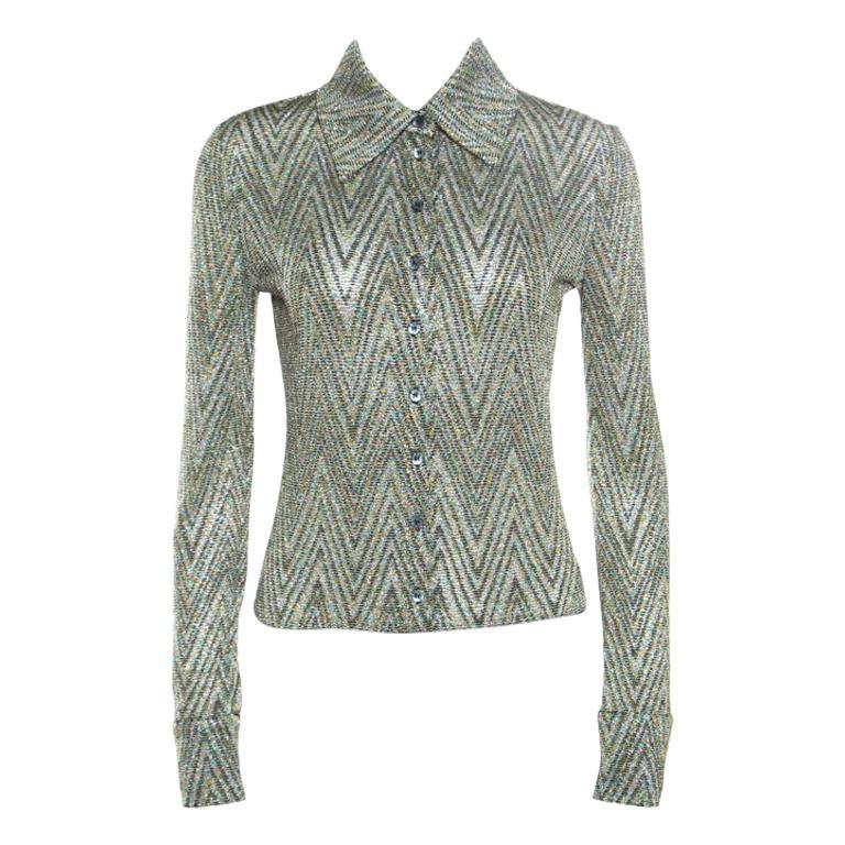 official photos e8465 4cc58 Missoni Multicolor Lurex Knit Chevron Pattern Long Sleeve Bodysuit M