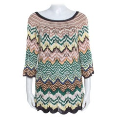 Missoni Multicolor Pattenred Perforated Knit Scalloped Hem Top M