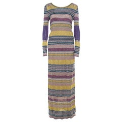 Missoni Multicolor Patterned Lurex Knit Maxi Dress S