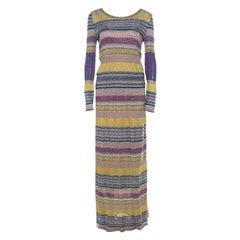 Missoni Multicolor Patterned Lurex Knit Maxi Dress S