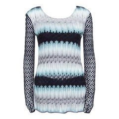 Missoni Multicolor Perforated Knit Long Sleeve Top S