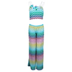 NEW Missoni Multicolor Rainbow Metallic Crochet Knit Pants Top Ensemble Set Suit
