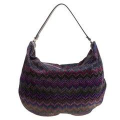 Missoni Multicolor Shimmering Weave Fabric Hobo