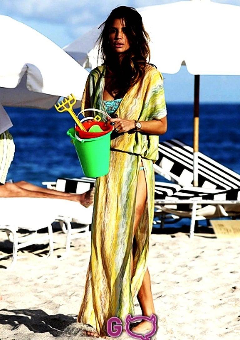 Missoni Multicolor Signature Chevron Zigzag  Kaftan Tunic Cover Up Dress For Sale 1