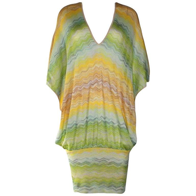 Missoni Multicolor Signature Chevron Zigzag  Kaftan Tunic Cover Up Dress For Sale