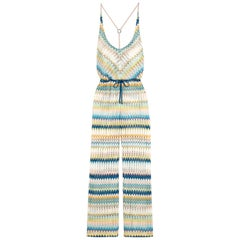 NEW Missoni Multicolor Signature Crochet Knit Wide Leg Jumpsuit Overall Playsuit