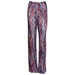 Missoni Multicolor Signature Zigzag Crochet-Knit Wide Leg Palazzo Pants