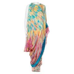 Missoni Multicolor Silk Embellished Cape Detail Sleeveless Maxi Dress M