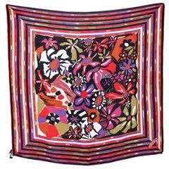Missoni Multicolor Silk Floral Striped Scarf