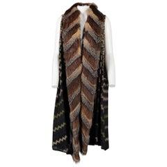 Missoni Multicolor Sleeveless Cardigan with Fur Edges - IT40