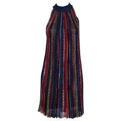 Missoni Multicolor Striped Lurex Knit Flamed Shift Dress S