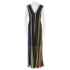 Missoni Multicolor Striped Lurex Knit Sleeveless Maxi Dress L