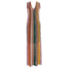 Missoni Multicolor Striped Lurex Knit Sleeveless Maxi Dress S