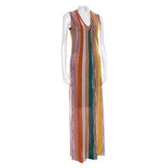 Missoni Multicolor Striped Lurex Knit Sleeveless Maxi Dress S