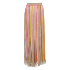 Missoni Multicolor Striped Perforated Lurex Knit Maxi Skirt L