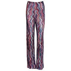 Missoni Multicolor Wide Leg Palazzo Signature Zigzag Crochet-Knit Pants Trousers