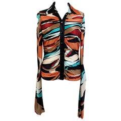 Missoni Multicolored Jersey Button Down Shirt Size 40