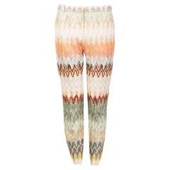 MISSONI multicolour viscose ZIGZAG Scallop Knit Tapered Leg Pants 44 L
