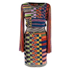Missoni Multicoloured Lurex Knit Fitted Dress with Pleated Sleeves - Size US 2