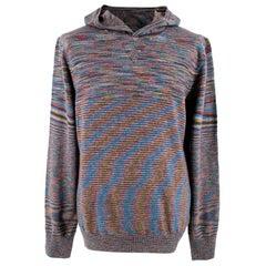 Missoni Multicoloured Wool Knit Hoodie - Size L EU 50