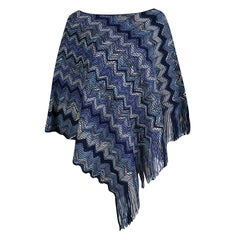 Missoni Navy Blue Chevron Pattern Chunky Knit Fringed Edge Poncho M