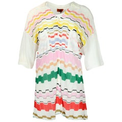 Missoni Off-White Button-Down Top w/ Multicolor Wave Pattern sz 44 rt $1,005