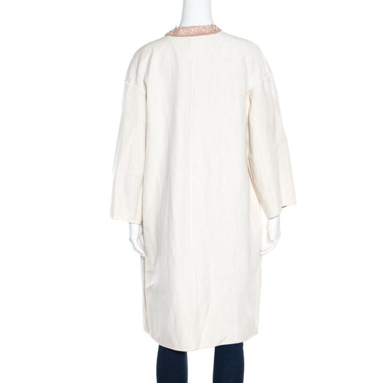 Gray Missoni Off White Silk and Linen Blend Ruffle Detail Contrast Lined Long Coat M For Sale