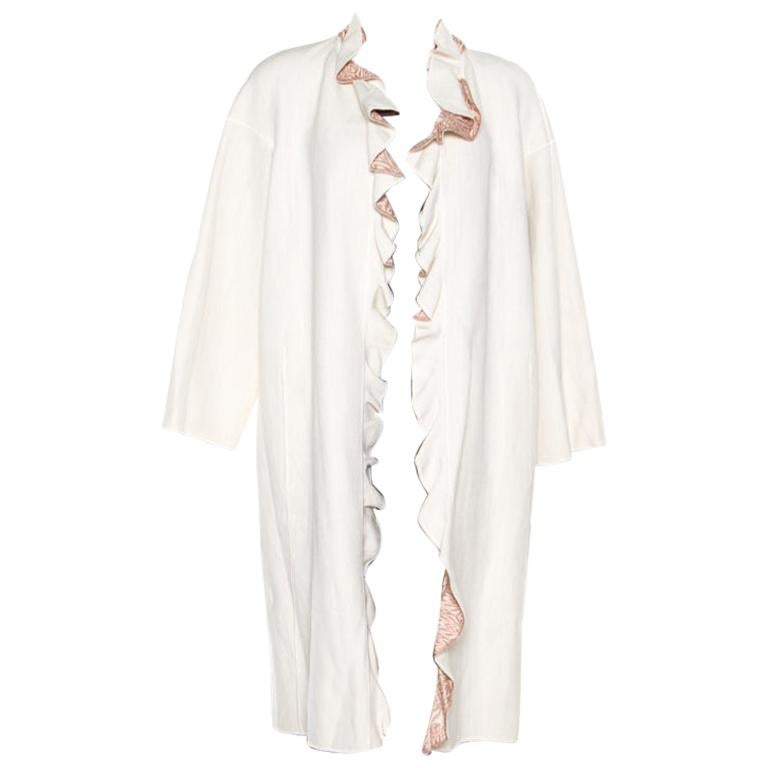 Missoni Off White Silk and Linen Blend Ruffle Detail Contrast Lined Long Coat M For Sale