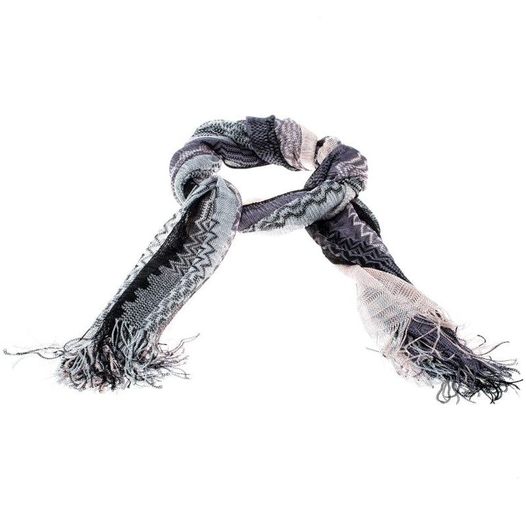 Gray Missoni Ombre Chevron Pattern Loose Knit Tassel Edged Scarf For Sale