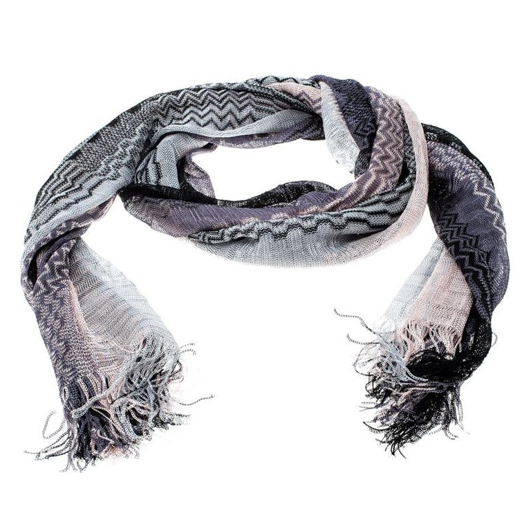 Missoni Ombre Chevron Pattern Loose Knit Tassel Edged Scarf For Sale