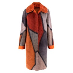 Missoni Orange Patchwork Mohair Blend Coat with Astrakhan Collar - Size US 4