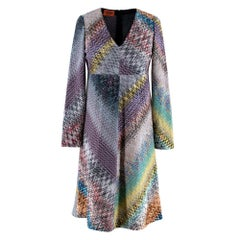Missoni Patterned Paneled Long Sleeve Knit Dress - Size US 6