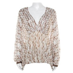 Missoni Pink and Brown Perforated Knit Plunge Neck Kaftan Top M