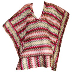 Missoni Pink Knit Chevron Kaftan Tunic Dress Cover Up