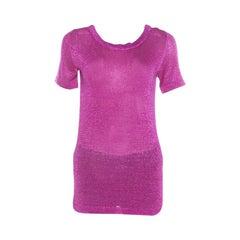 Missoni Pink Lurex Knit Short Sleeve Vanise Lamé Top S