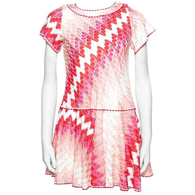 Missoni Pink Patterned Knit Skater Dress L For Sale