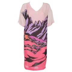 Missoni Pink Printed Silk Short Sleeve Shift Dress M