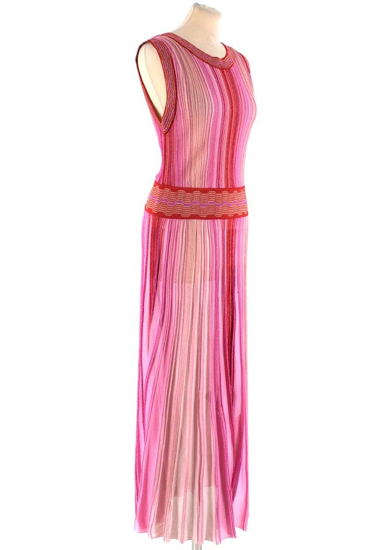 Missoni Pink & Red Metallic Midi Dress   - Sleeveless - Wrap Detail at Back  - Rounded Neckline  - Patterned trim to neckline, arms and waist  - Tonal Pink and red metallic throughout  - Elasticated Waist  - Maxi Length  - Pleated Skirt