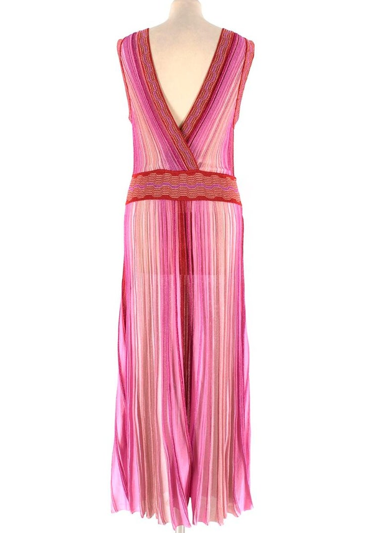 Missoni Pink & Red Metallic Midi Dress M 44 In Excellent Condition For Sale In London, GB
