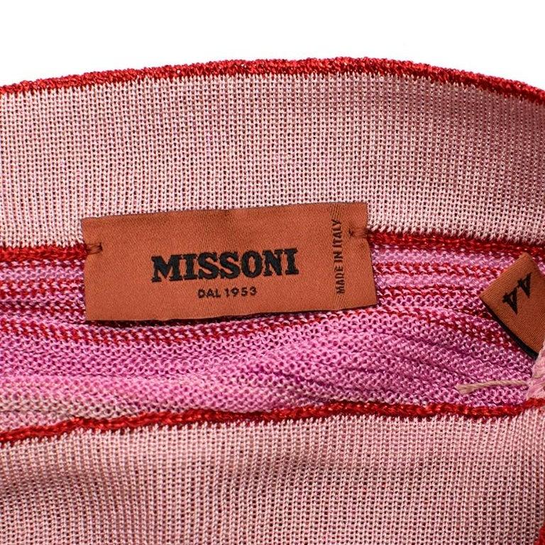 Missoni Pink & Red Metallic Midi Dress M 44 For Sale 1