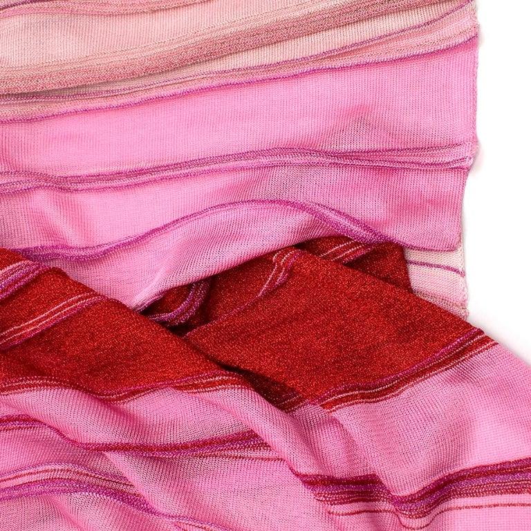 Missoni Pink & Red Metallic Midi Dress M 44 For Sale 2