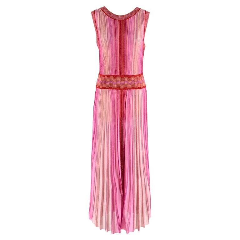Missoni Pink & Red Metallic Midi Dress M 44 For Sale