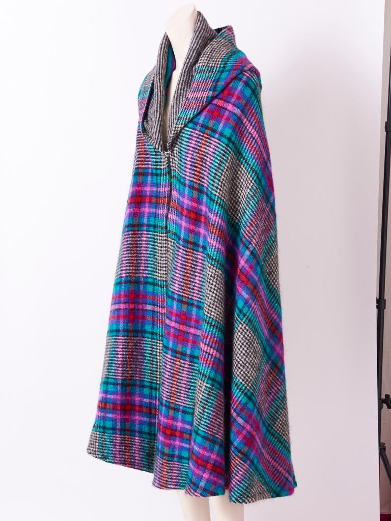Purple Missoni Plaid Wool Knit Cape With Hood For Sale