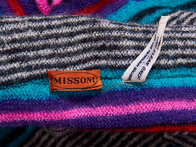 Women's Missoni Plaid Wool Knit Cape With Hood For Sale