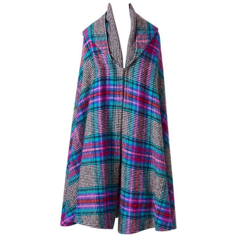 Missoni Plaid Wool Knit Cape With Hood For Sale