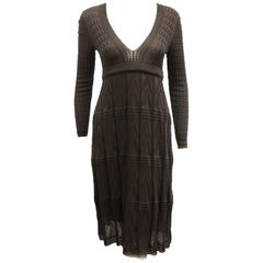 Missoni Plum Plunging Neckline Long Sleeve Dress